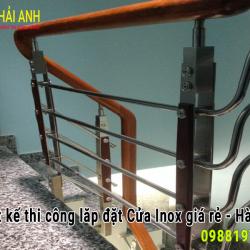Cầu thang inox tay vịn gỗ Mẫu – LCTC 035